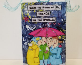 Bestie Gift - Best Friend Gift - Girlfriend Gift - Mixed Media Art Gifts - Mixed Media Art Quotes - Wood Art Block - Mixed Media Collage