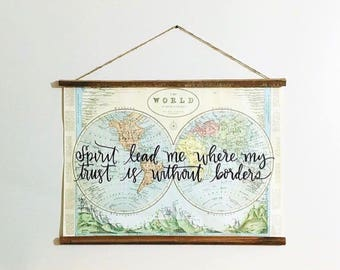 Handlettered World Map with aged wood frame