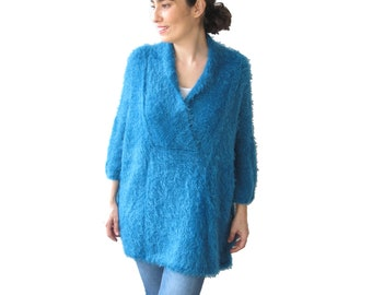 Hand Knitted Sweater, Plus Size Jumper, Over Size Sweater, Hand Knit Jumper, Woman Jumper, Slouchy Sweater, Blue Wool Sweater
