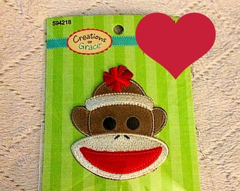 Sock Monkey Iron on Patch