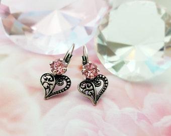 Pink Heart Earrings - Pink Crystal Earrings - Silver Heart Earrings - Swarovski Heart Earrings - Romantic Gift for Her - Heart Jewelry E3038