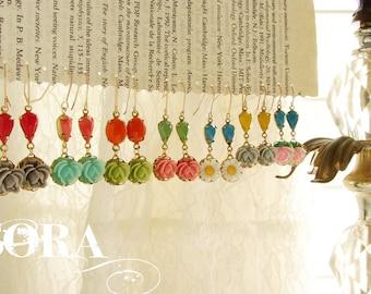 Bridesmaid jewelry, floral jewelry, flower earrings, vintage rose glass teardrop earrings, wedding party gift