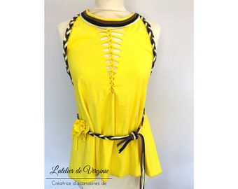 Tank top, tunic, backless cotton elasthan yellow, braided neckline style bohemian chic spring summer collection