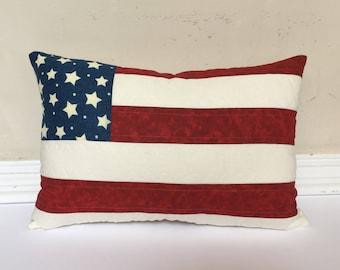 American flag pillow, quilted pillow, Fourth of July pillow