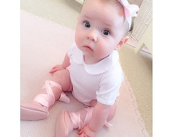 Baby girl shoes newborn shoes infant shoes princess shoes toddler girl shoes wedding shoes flower girl shoes ballerina shoes - Ballet pink
