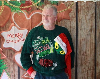 Naughty in hiding... Grinch, funny, tacky, ugly, handsome, party, Christmas sweater