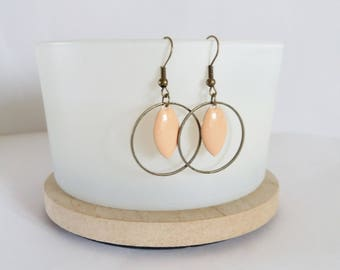 Graphic creole earrings soft pink enamel navette