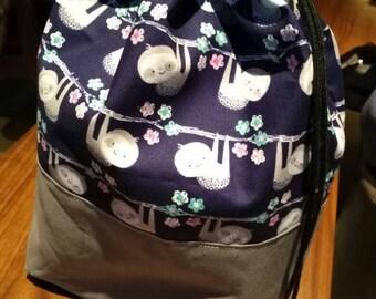 Drawstring Knitting Project Bag - Sloth