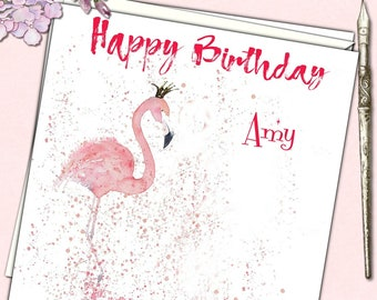 Personalised Birthday Card Pink Flamingo Mother Daughter Niece Granddaughter