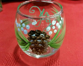 Hand painted Holiday votives
