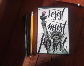 Resist Insist Persist Postcard 4x6