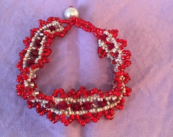 """Red and Silver Beadwoven 7"""" Bracelet"""