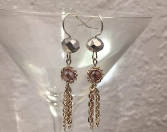 Swarovski crystal and chain chandelier earrings.  Purple and silver.