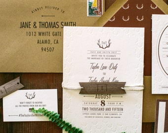 Rustic Antler Woodland Letterpress Wedding Invitation