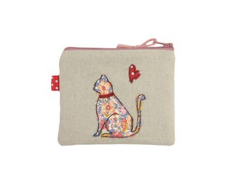 Cat Coin Purse, Small Personalised Gift, Mini Zip Pouch Pink, Liberty Appliqué Sitting Cat