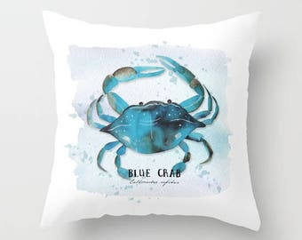 blue crab,beach pillow, coastal decor, nautical,pillow cover, typography,aqua,throw pillow,decorative pillow