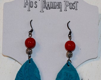 Embossed Turquoise Leather Earrings