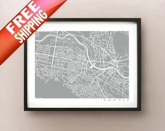 Skopje Map - Macedonia Poster Print - Скопје