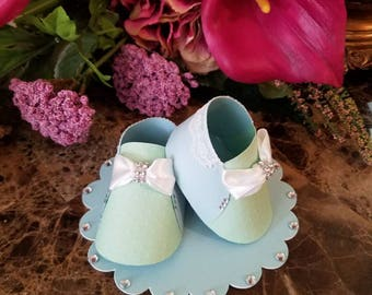 Blue And Green Baby Boy Shoe Topper / Shoe Cake Topper
