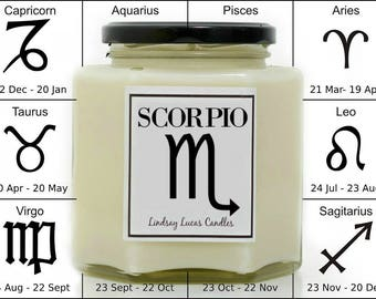 Scorpio Candle, Star Sign Candle, Horoscope Candle, Scorpio Zodiac Candle, Star Sign Gift, Zodiac Gift, Scorpio Gift, Star Sign Candle