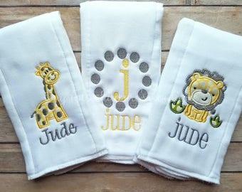 Set of 3 Personalized Baby Burp Cloths - Embroidered Burp Cloth Set - Newborn - Baby Boy Custom Monogram Burp Cloth - Lion - Giraffe - Gray