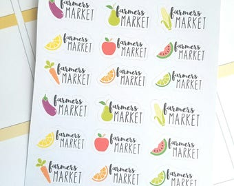 Farmers Market planner stickers - Erin Condren - Happy Planner - Christmas gift - Gift for her - Daily Planner - fruit and vegetables