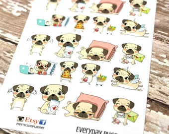 Pug Stickers - Every Day Pug Planner Stickers - Character Stickers - Pizza pug- Movie Night Pug - Angry Pug - Shopping Pug - Unicorn Pug