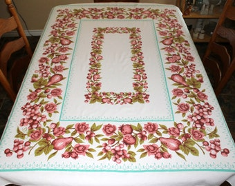 Vintage Cotton Bark Cloth Tablecloth, Table Covering with Berries and Fruit Pattern, Pink and Aqua Kitchen Decor, 49 x 65, Oblong Tablecloth