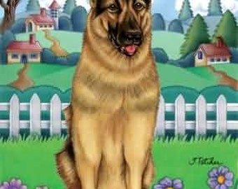 German Shepherd TP Spring Flag: 28 x 40 inches