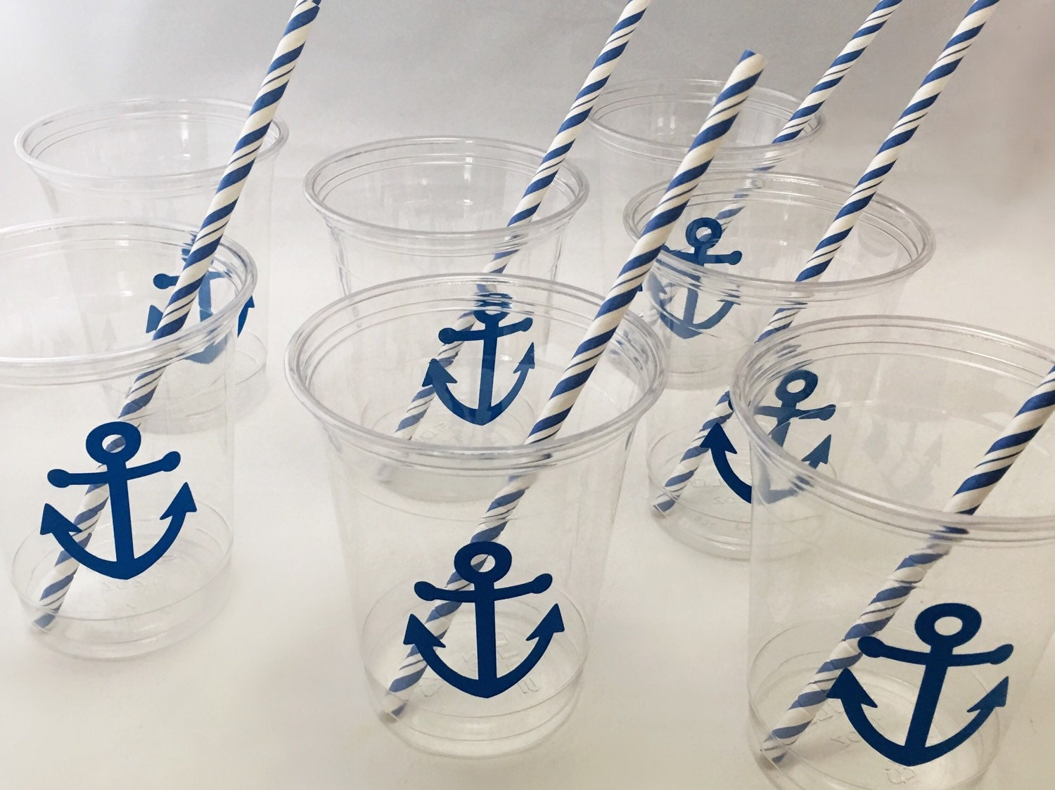 Nautical Party Cups - Nautical Wedding - Anchor Cups - Nautical Baby ...