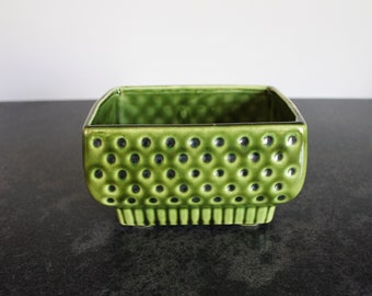 Vintage Green Ceramic Planter, Footed Planter
