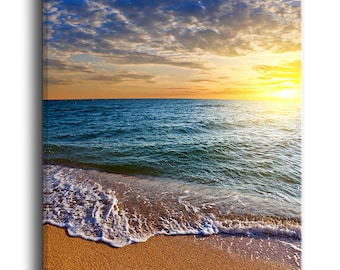 Layers of Colors on Sunrise Beach  Canvas Art Print and Metal Wall Art Available in Different Sizes (PT10534)