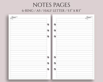 """Notes Pages, Lined Paper Planner Inserts, Medium Ruled, College Ruled ~ Half Page / A5 / 5.5"""" x 8.5"""" for 6-Ring Filofax, Kikki K (A5-N)"""