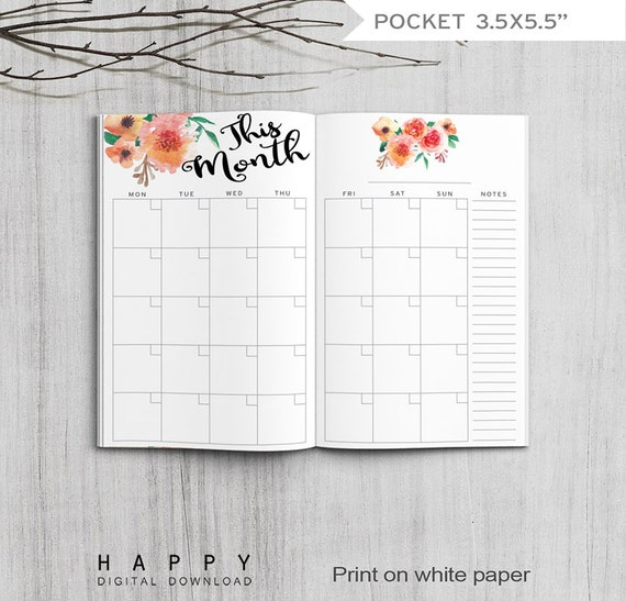 Printable Monthly Planner Pocket Size Monthly Planner Printable