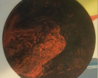 Upcycled 33 album metallic orange and black
