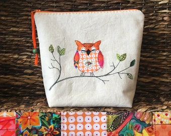 Project bag with owl/ freemotion machine embroidery