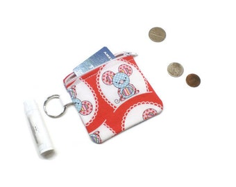 Cute mouse coin purse, change bag. Red, white, blue and pink!