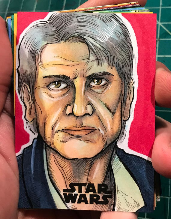 Journey to the Last Jedi Original Artist Sketch Card: Han Solo