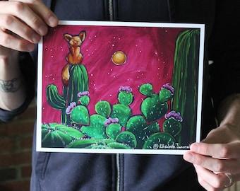 Desert Fox with Cacti; Fine Art Print
