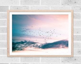 oiseau déco oiseaux art mural oiseau oiseaux qui volent le coucher de soleil impression art abstrait grand oiseau Photographie Photographie coucher de soleil décor lilas rose bleu
