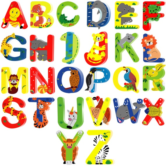 Kids Name Letters Animal Wooden Alphabet Letters For Children Names On Doors Or