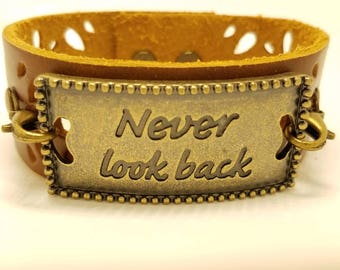 """Leather wristband- Brown leather cuff bracelet- Pewter medallion - """"never look back"""" - Woman's leather cuff bracelet - Anniversary gift"""