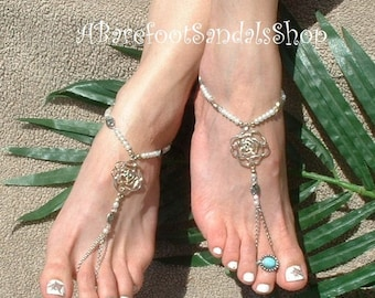 White or Ivory WEDDING Foot Jewelry Barefoot Sandals Beach Wedding Shoes Footless Sandals My Style Ankle Jewellery