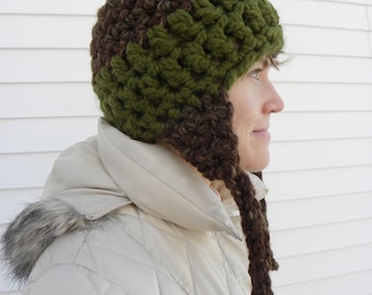 Green and Brown Crochet Earflap hat