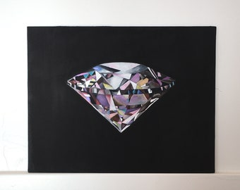 Diamond Watercolor Original Painting