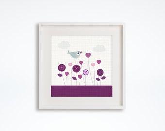 Baby grey purple nursery decor, wall art print, baby room decor, nursery print, kids wall art, baby nursery, kids decor, shabby chic