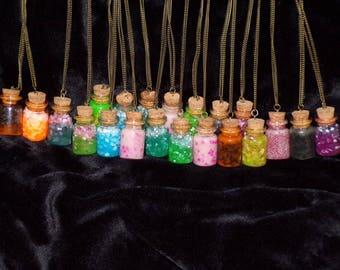 Necklace glow in the dark bottles