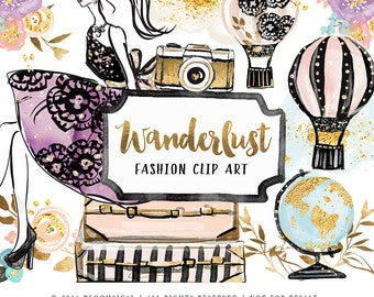 Wanderlust Clip Art | HandDrawn Travel Hot air Balloon Girl Floral Globe Graphics Planner Stickers, Planner Girl,Invites | Digital Cliparts