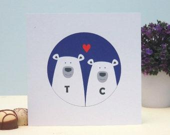 Bears In Love Personalised Valentine's Day Card, Wedding, Anniversary Card, Romantic Personalised Keepsake Card