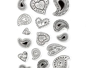 Paisley Hearts Clear Stamp Set